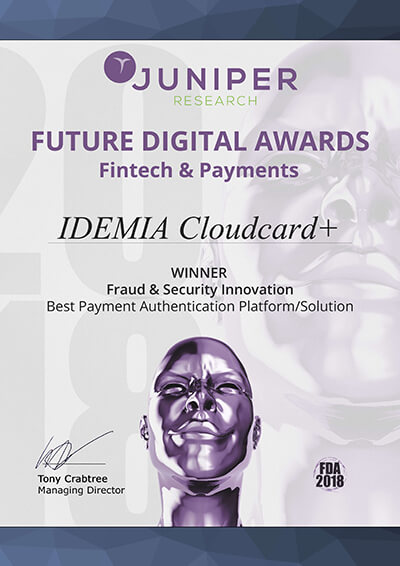 IDEMIA's biometrics and mobile-based Cloudcard+ solution wins Best Payment Authentication Solution Award from JUNIPER research