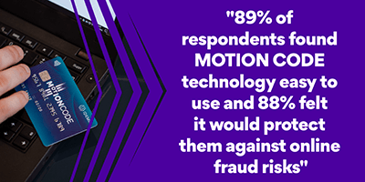 89% of respondents found MOTION CODE easy to use and 88% felt it would protect them against online fraud risks