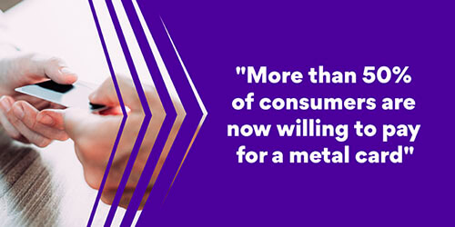 More than 50% of consumers are now willing to pay for a metal card.