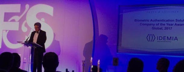 Frost & Sullivan Best Practices Award : IDEMIA a reçu le prix de l'Entreprise de l'année dans la catégorie des Solutions globales d'authentification biométrique